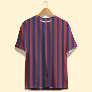 Red and Navy Blue Stripes Unisex T-Shirt| Bling Fling India