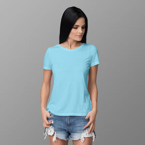 Women's Round Neck Plain T-Shirt Sky Blue