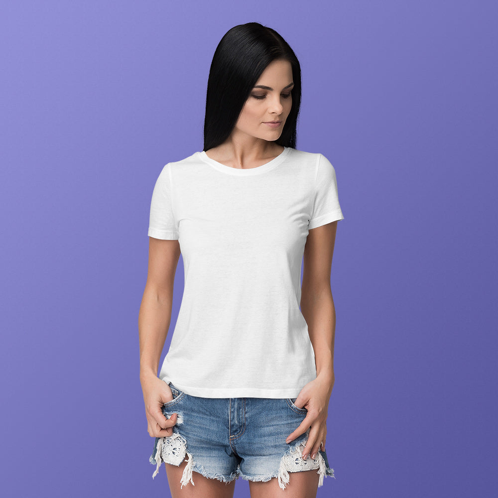 Women's Round Neck Plain T-Shirt White