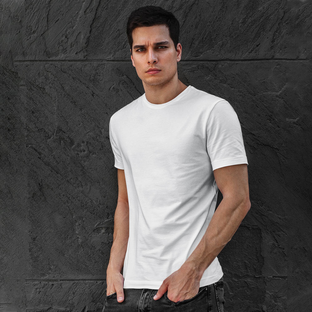 Men's Premium Round Neck Plain T-Shirt Crystal White