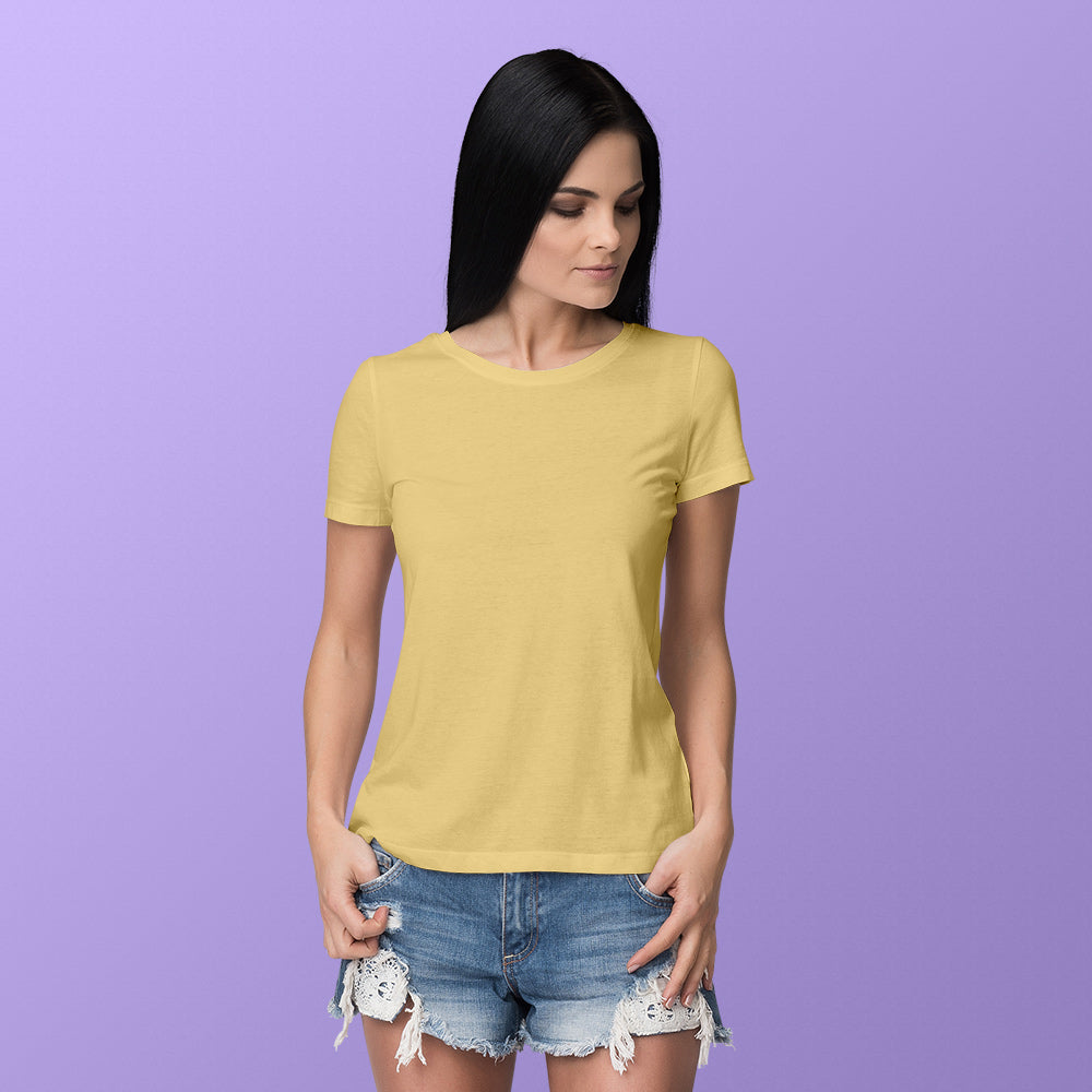 Women's Round Neck Plain T-Shirt Yellow