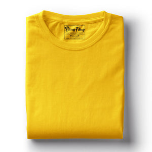 Men's Premium Round Neck Plain T-Shirt Yellow