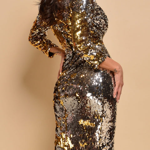 Silver and Gold sequin dress By IdealDresses.co.uk