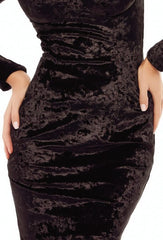 Short Black Velvet Puff Sleeves Bodycon Dress By IdealDresses.co.uk