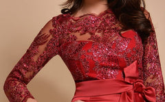 Three-quarter red lace dress By IdealDresses.co.uk