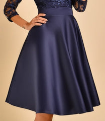 Navy embroidered Lace Top Midi Dress By IdealDresses.co.uk