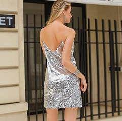 Silver Mini Sequin Dress By idealDresses.co.uk