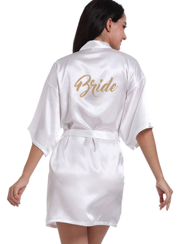 Personalized Bride Short Kimono Silk Satin Bathrobe