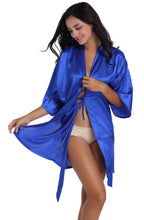 Load image into Gallery viewer, Personalized Bride Short Kimono Silk Satin Bathrobe