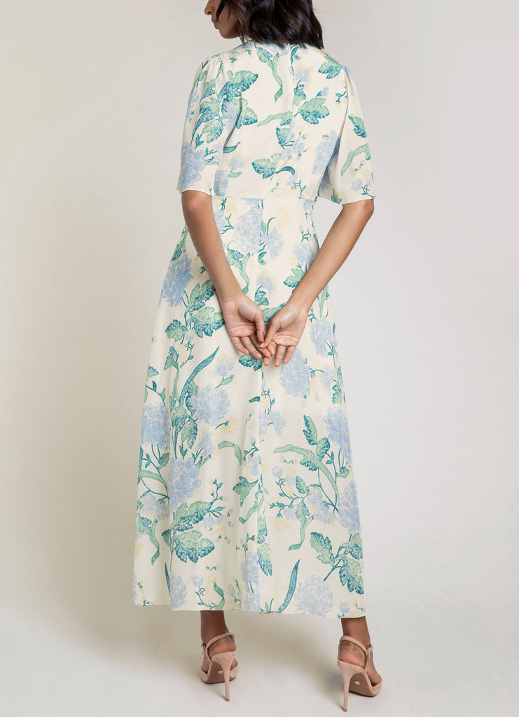 Gardenia Ivory Dallia Floral Midi Dress