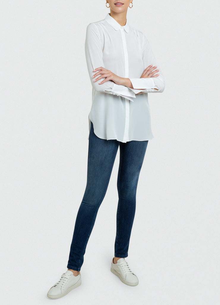 Ira tailored white silk crepe de chine shirt