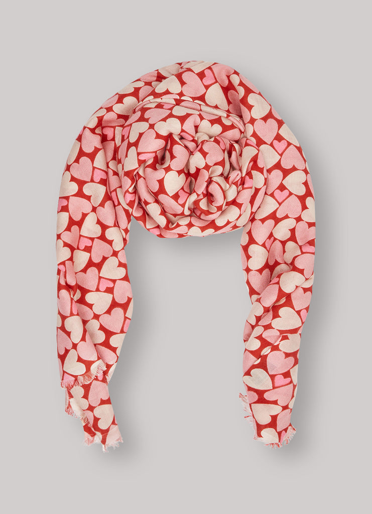 Kamala Pink Blush & Red Heart Printed Scarf
