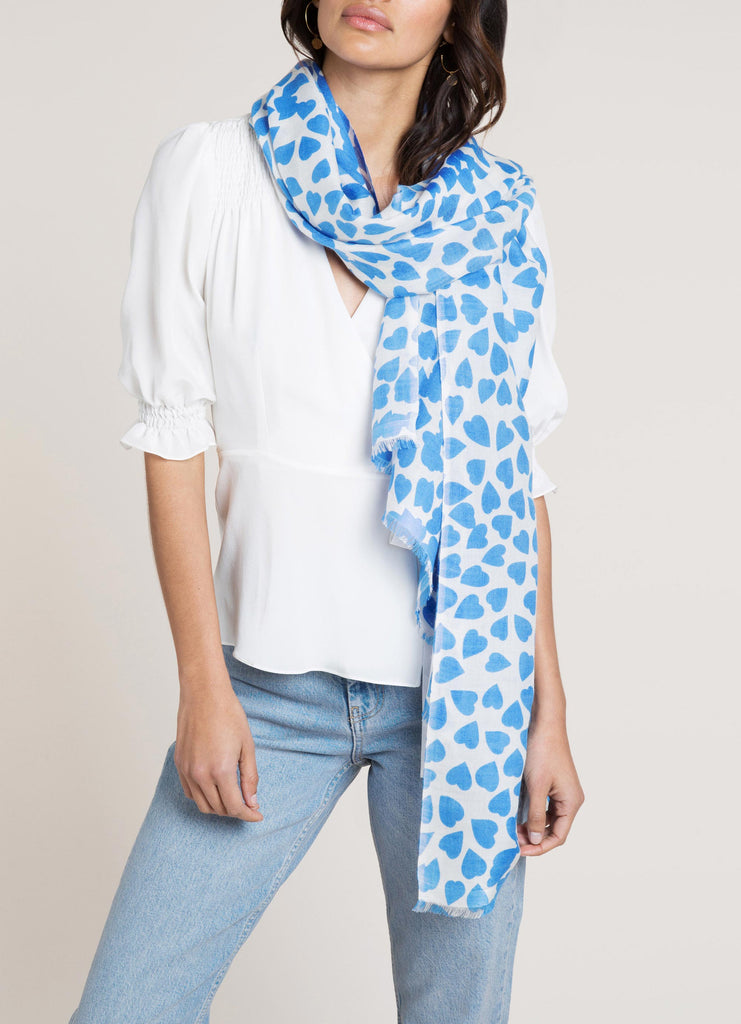 Shibani Ecru and Blue Blush Printed Scarf