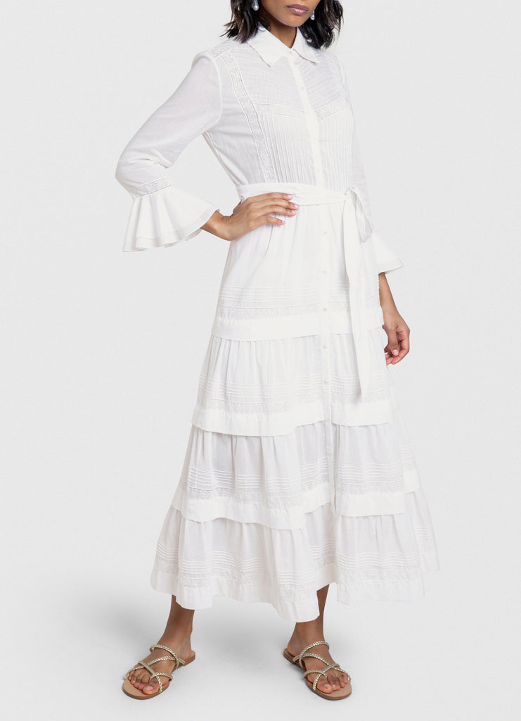 Susie white cotton dress with tiered skirt