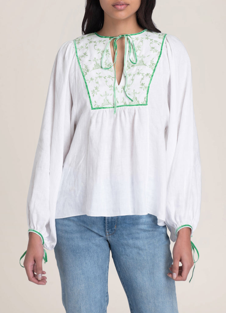 Talika hand embroidered green velvet and white cotton blouse