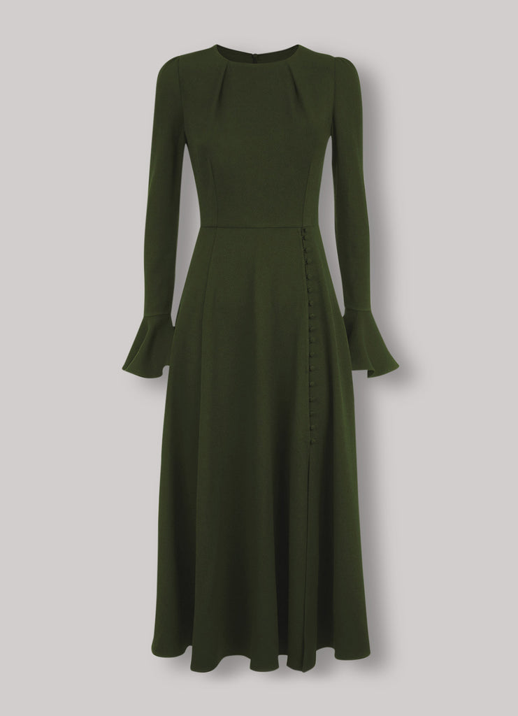 Yahvi olive green tailored wool crepe dress