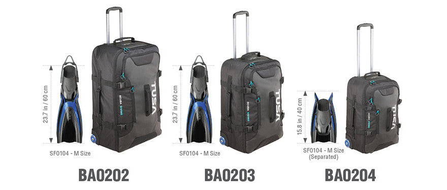 TUSA Roller Bag Size Comparison