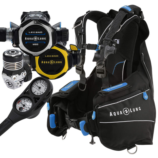 Aqua Lung Leg3nd MBS and Omni Package With Free Gauge | Blue | Mike's Dive Store