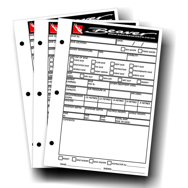 Beaver Dive Folder Log Book Inserts 50 Sheets