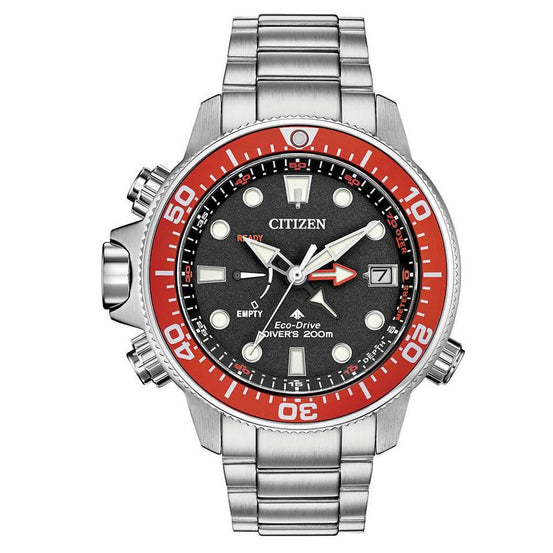 Citizen Eco-Drive Promaster Aqualand Grey Red Dive Watch - Mike's Dive Store
