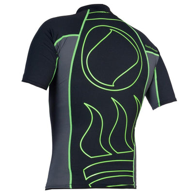 Fourth Element Hydroskin Rash Vest Short Sleeved - Back - Men's Black/Green