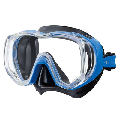 Tusa Freedom Tri-Quest Dive Mask - Black / Fishtail Blue - Mike's Dive Store