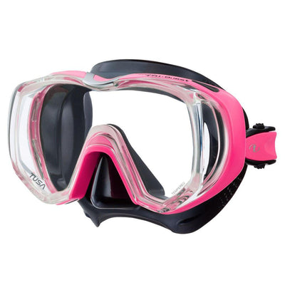 Tusa Freedom Tri-Quest Dive Mask - Black / Hot Pink - Mike's Dive Store