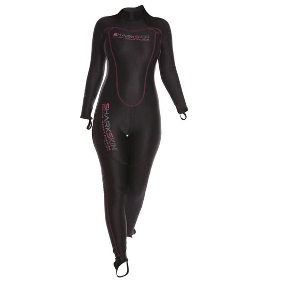 Sharkskin Chillproof Rear Zip Suit - LadiesBlack/Silver XXS - Mike's Dive Store