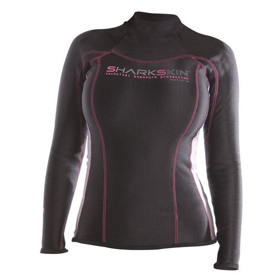 Sharkskin Chillproof Long Sleeve - LadiesBlack/Silver XXS - Mike's Dive Store