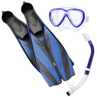 Tusa Freedom One Snorkel Set - Blue - Mike's Dive Store