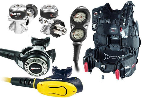 Mares MR22 Abyss Regulator with MV-Octopus and Hybrid Pure BCD Dive Equipment Package - Mike's Dive Store