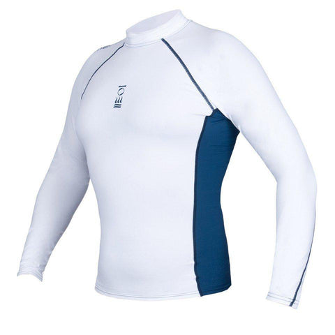Men's Hydroskin Rash Vest Long Sleeved - White/Blue - Mike's Dive Store - 2
