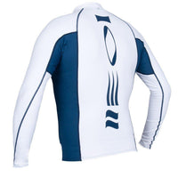 Men's Hydroskin Rash Vest Long Sleeved - White/Blue - Mike's Dive Store - 3