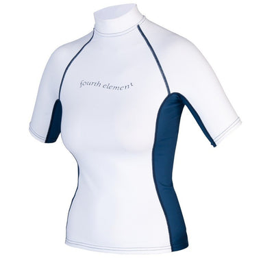 Women's Hydroskin Rash Vest Short Sleeved - White/Blue - Mike's Dive Store - 1