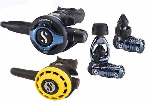 Scubapro MK25 / S600 Blue Titanium Regulator & R195 Octopus - Mike's Dive Store - 1