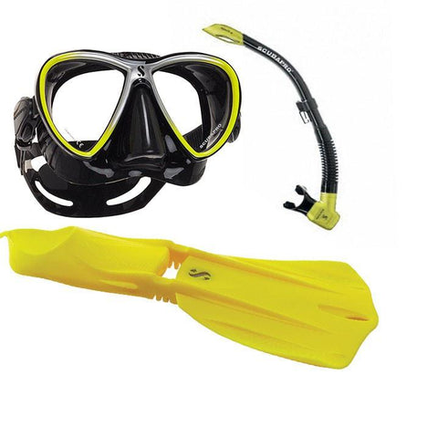 Yellow Scubapro Synergy Twin and Seawing Nova Full Foot Snorkel Package