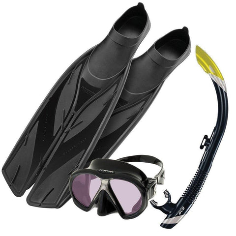 Atomic SubFrame ARC Snorkelling SetClear/ Black & Silver Snorkel / Splitfins, Full Foot, Black - 4.5-5.5 (37/38) - Mike's Dive Store - 1