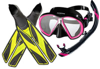 Atomic SubFrame Snorkelling SetPink/Black / Splitfins, Full Foot, Yellow - 4.5-5.5 (37/38) - Mike's Dive Store - 1