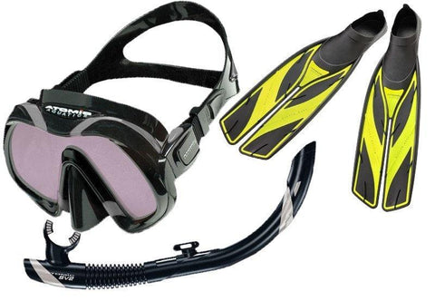 Atomic Venom ARC Mask SV2 Snorkel and Yellow SplitFins Set - Mike's Dive Store