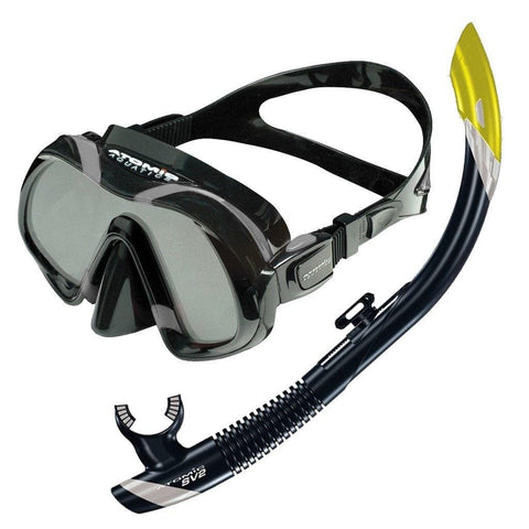 Atomic Venom Mask and SV2 Snorkel SetBlack/Blue - Mike's Dive Store - 1