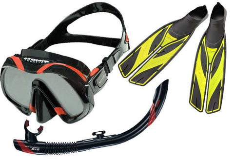 Atomic Venom Mask SV2 Snorkel and Yellow SplitFins SetBlack/Red / Splitfins, Full Foot, Yellow - 4.5-5.5 (37/38) - Mike's Dive Store - 1
