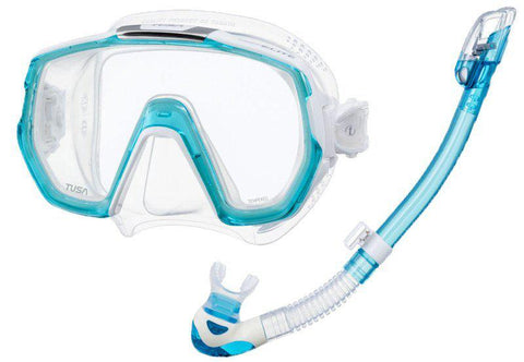 Tusa Freedom Elite Mask and Snorkel SetLight Blue - Mike's Dive Store - 1