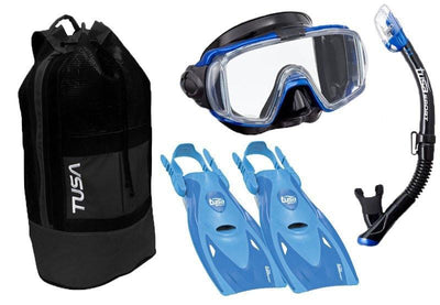 Tusa Visio Tri-Ex Mask, Snorkel and Fin SetS / Blue - Mike's Dive Store - 1