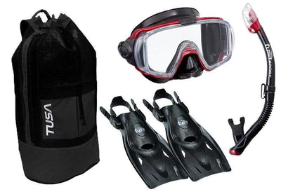 Tusa Visio Tri-Ex Mask, Snorkel and Fin SetS / Red - Mike's Dive Store - 2