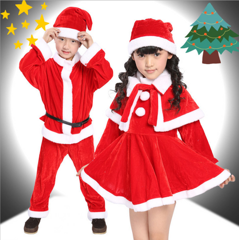 Boy and Girl Christmas Show Costume Santa Suit