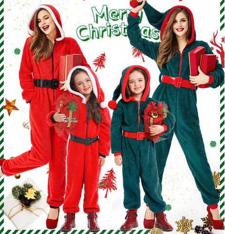 Adult Kids dark green red parent-child Christmas costume Christmas cosplay suit