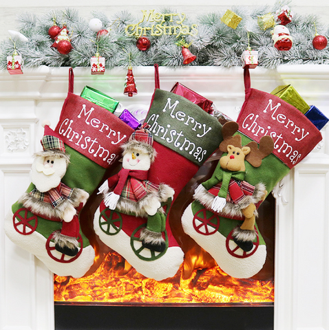 Christmas stockings Christmas ornaments pendant Christmas stocking bag Candy Christmas stocking bag Christmas gift sock bag