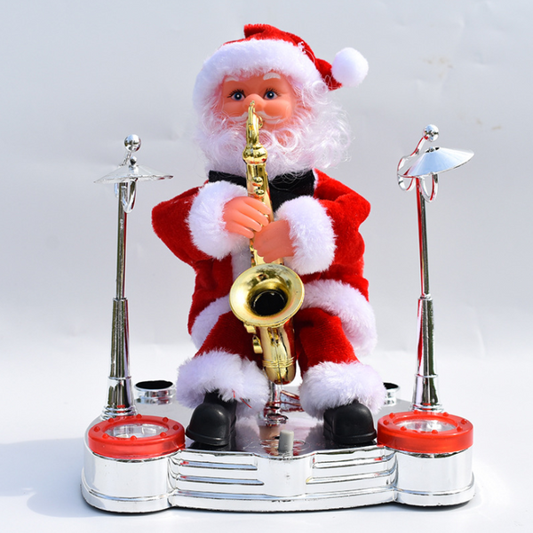 Electric Santa Claus playing piano music dolls Christmas costumes jewelry children gifts gift toys