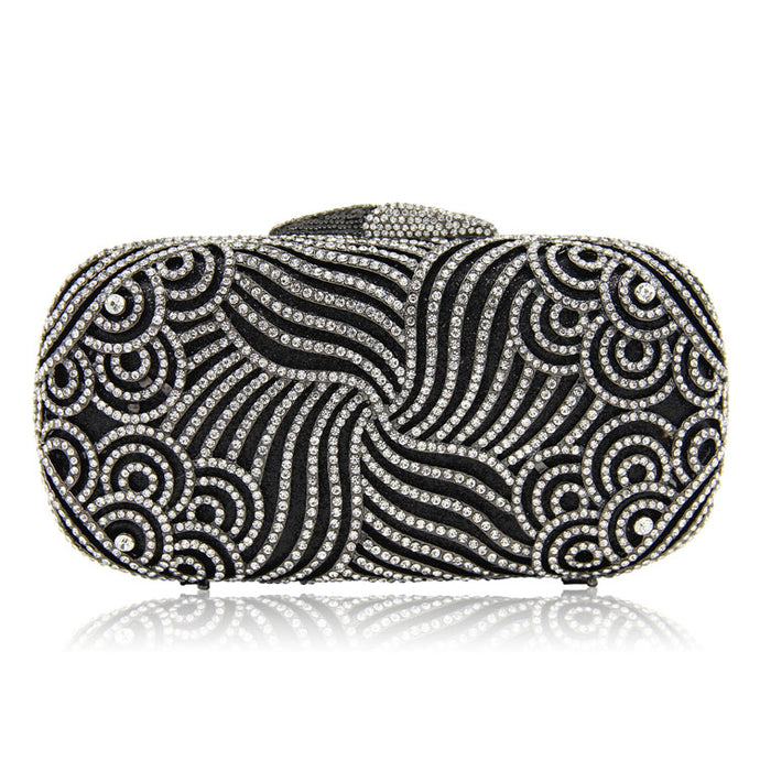 Embedded Glitter Stone Box Clutch - Black