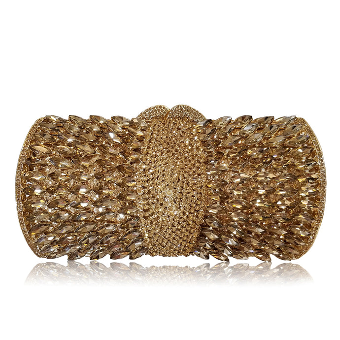 Crystal Diamante Clutch - Gold